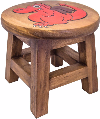 Children S Wooden Step Or Stool Red Dragon Design